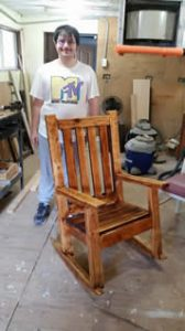 Andrew refinished this rocking chair for a needy local family so that the grandfather could rock his newborn grandchild.