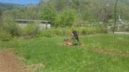 Tyler was an intern who volunteered to till the ground for a local member of our garden program